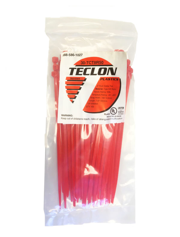 """8"""" cable ties red"""