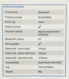 earbud specifications
